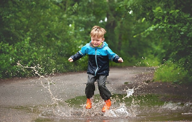 Early Years outdoors puddle jump