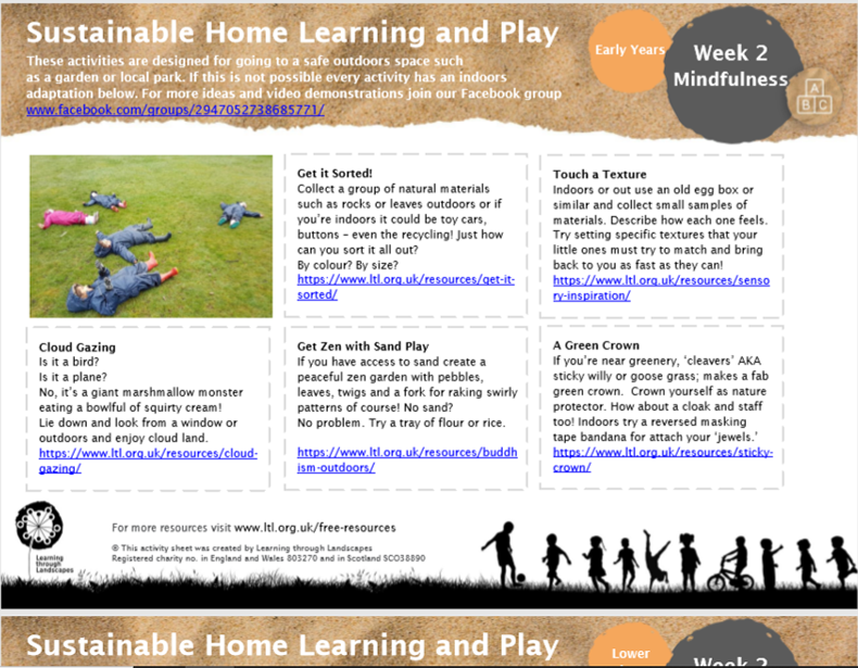outdoor learning ideas week 2