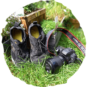 camera and barefoot running shoes